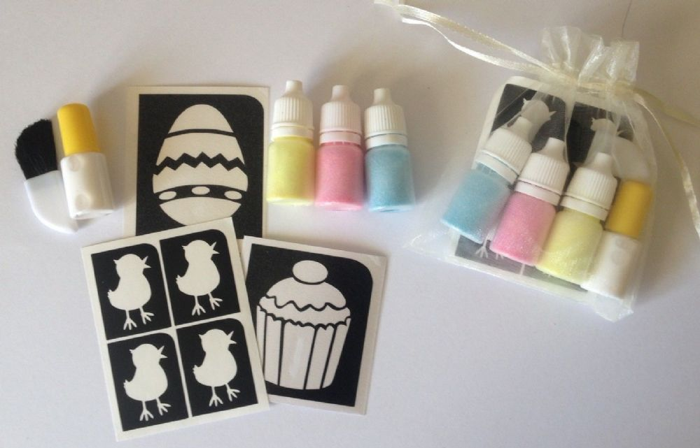 EASTER GLITTER TATTOO KIT  EGG CUPCAKE CHIC